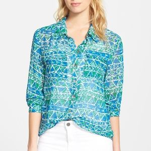 Two by Vince Camuto Print Utility Shirt